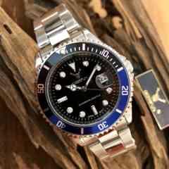 最安値!ロレックス・サブマリーナタイプ◇クォーツ メタル腕時計・ブラック青黒枠×シルバー