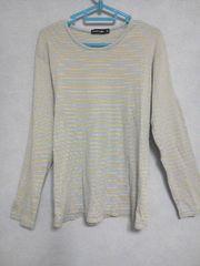 モバオクで買える「Fー80★UNIQLOボーダー柄長袖Tシャツ ライトブルー×イエロー XL」の画像です。価格は500円になります。