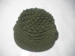 wb591 ROXY ロキシー つば付き ニット帽 ビーニー 緑