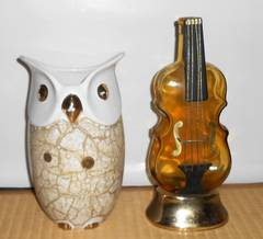 外国製と思われるフクロウの焼き物花瓶&バイオリン型一輪挿し