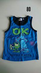 青に紺のふちモンスターズインク袖なしTシャツ