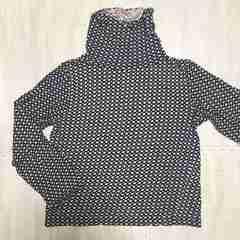 【used】ドット柄ハイネックTシャツ/M/黒×グレー/ネック2way