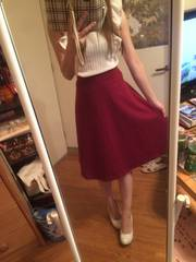 one*way☆レッド膝下丈スカート