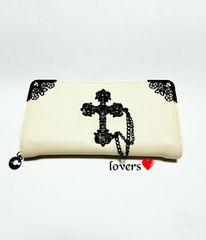 送料無料ホワイト白クロムシルバービッグクロス十字架長財布
