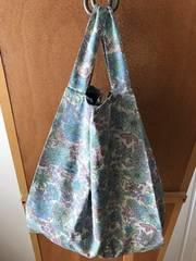 レジ袋型コットンエコバッグ<花柄×ネイビー>L 収納袋付