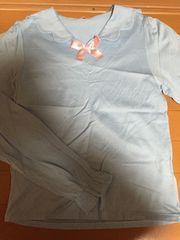 美品☆ナイルパーチ☆サックス水色☆セーラー襟☆長袖カットソー