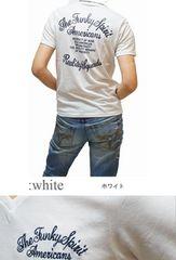 送料無料/訳あり アウトレット/バイカー系VネックTシャツ (L)白