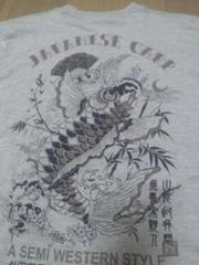 ☆新品[FREESUAL]扇子に跳ね鯉プリント長袖Tシャツ スカジャン好きにも