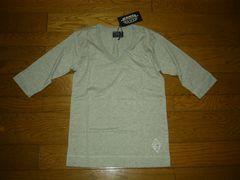 新品CRIMIEクライミーカットソーS灰5分丈VネックTシャツ