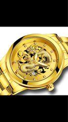 ゴールドドラゴンウォッチ 龍 金運UP昇り龍!メンズ腕時計