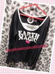 黒リボン★アースマジックEARTHMAGIC★長袖Tシャツカットソー★160サイズ
