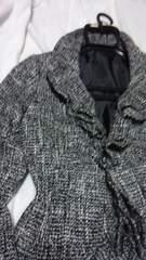 ツイードの白黒リボン付きジャケット