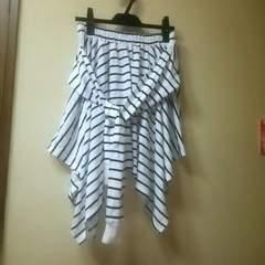 未使用★腰巻きシャツ風アシメボーダーミニスカL