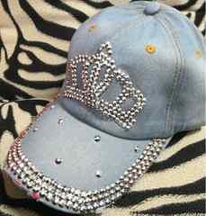王冠 キャップ キラキラ キャップ 帽子 デニム レディース 新品