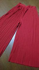 大きいサイズ新品☆赤ロングプリーツパラッツォパンツ/XL