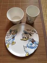 ディズニーストア・イラスト風ドナルドダック柄食器3点セット
