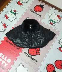 新品・タグ付き☆ファー付きブラックポンチョ☆ダウンタイプ☆80cm☆子供服