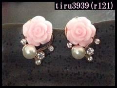 r121/可愛いピンク薔薇スタッドピアス/新品・送料120円