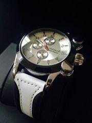目を引くデザイン♪爽やかな白★メンズ腕時計Club Face2