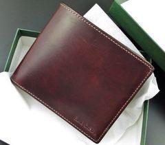 新品/箱付 ポールスミス 高級レザー使用 二つ折り財布 ワイン