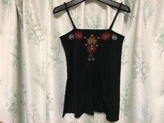 黒色ブラック刺繍肩紐キャミソール