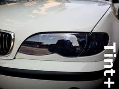 Tint+再利用OK BMWセダン/ツーリングE46後期ヘッドライト スモークフィルム T2