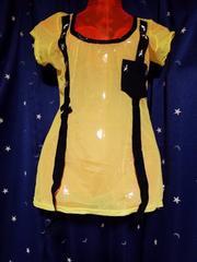 黄色シースルートップス