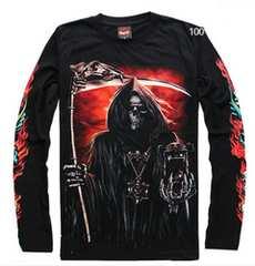 かっこいい夜光どくろ 死神ロングTシャツサイズL