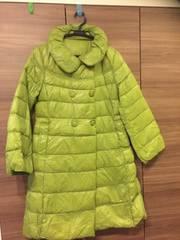 黄緑ダウンコート横浜スミノ高級美品セレブ42MLサイズ