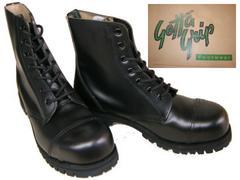 ゲッタグリップおでこ靴7ホール ブーツ新品7507BLスチール入uk10