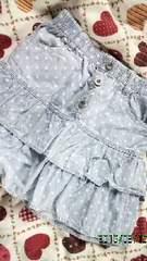 水色ドット柄スカート140
