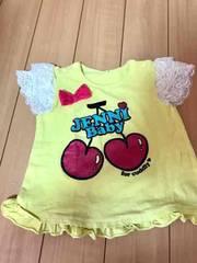 ★90cm★ジェニィさくらんぼフリル半袖Tシャツ★黄色JENNI