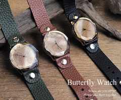 ☆バタフライ[蝶]の煌びやかなデザイン腕時計 ブラウン
