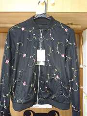 しまむら 新品 花刺繍 ブルゾン 黒 ジャケット