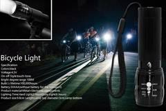 【送料無料】防水LEDライト2000ルーメン+自転車ライトスタンド◆LED懐中電灯