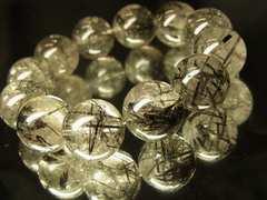 ブラックトルマリンインクォーツ18ミリ数珠ブレスレット!!!財運を招きよせる