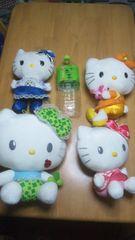 11@キティ@キティちゃんぬいぐるみ中サイズ4個多少染み有サンリオHello Kitty