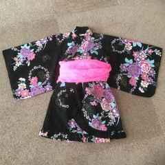 yukata Dress 浴衣 3点セット 7-8才 上下 帯 120