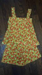 セットアップ花柄パジャマ 黄色系 Mサイズ