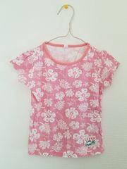 ピンクにハイビスカス模様の半袖Tシャツ95