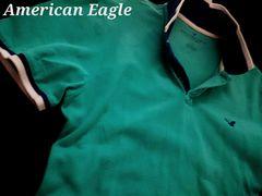 【アメリカンイーグル】Vintage Slim Fit ポロシャツ L/Turquoise
