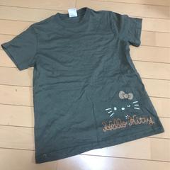 ハローキティー◆ストーン付◆半袖Tシャツ◆Lカーキ
