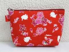 和柄ファスナーポーチ(お化粧・コスメ・小物入れ)桜楓うさぎ赤