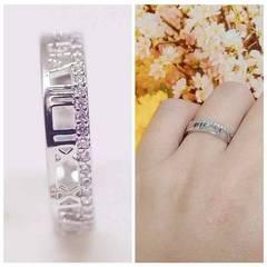 指輪 18K RGP ハーフ エタニティ ローマ数字 リング yu1081e