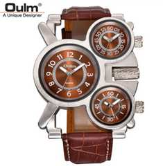 海外ブランドOulm腕時計 3タイムゾーン時計 クオーツ 茶