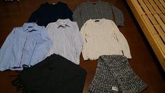 ケーブルニット3点、長袖シャツ2点、マフラー2点計7点セット