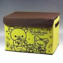 【リラックマ】可愛い底板.フタ付♪折り畳める収納ボックスケース