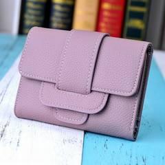 1円新品☆ふわふわ手触り三つ折りレディース財布パープル紫レディース