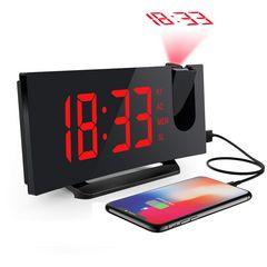 デジタル時計 目覚まし時計 天井投影 大型LED  赤
