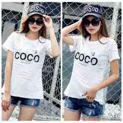 901378大きいサイズ 穴あき風N9 COCOロゴ大人気 Tシャツ☆F白